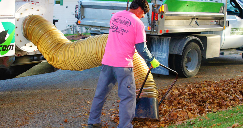 Team member doing curbside leaf pickup in Alton, IL.