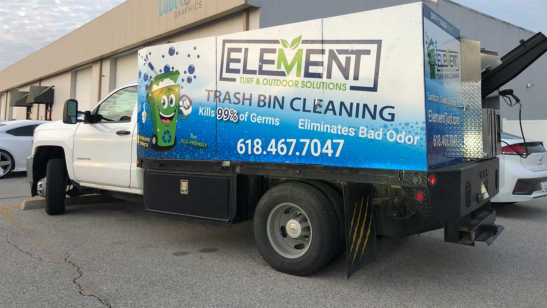 Element Turf & Outdoor Solutions, LLC trash bin cleaning truck in Godfrey, Illinois.