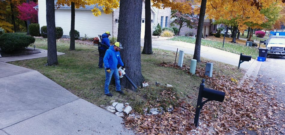 Team members doing curbside leaf pickup in Alton, IL.
