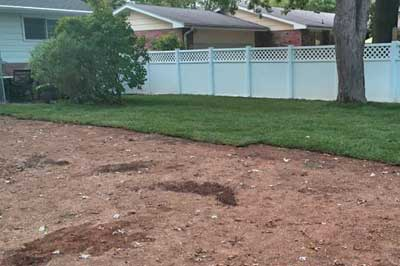 New sod laid in the backyard of a home in Alton home.